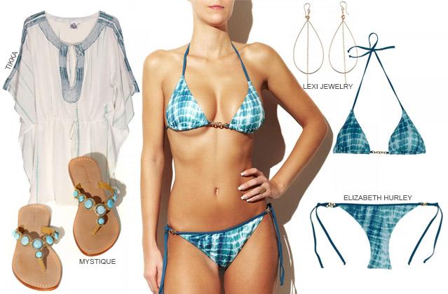 4 Must-haves für einen traumhaften Strand-Look: Bikini, Kaftan, Sandalen, Ohrringe