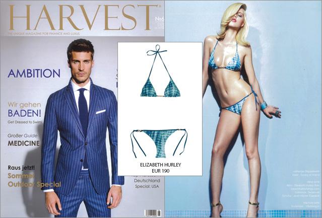 Macht an: der Elizabeth Hurley Bikini im Männermagazin HARVEST