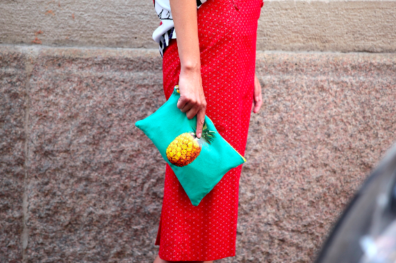 Skirt Vintage dots clutch Pinapple Modepilot Clara Racz