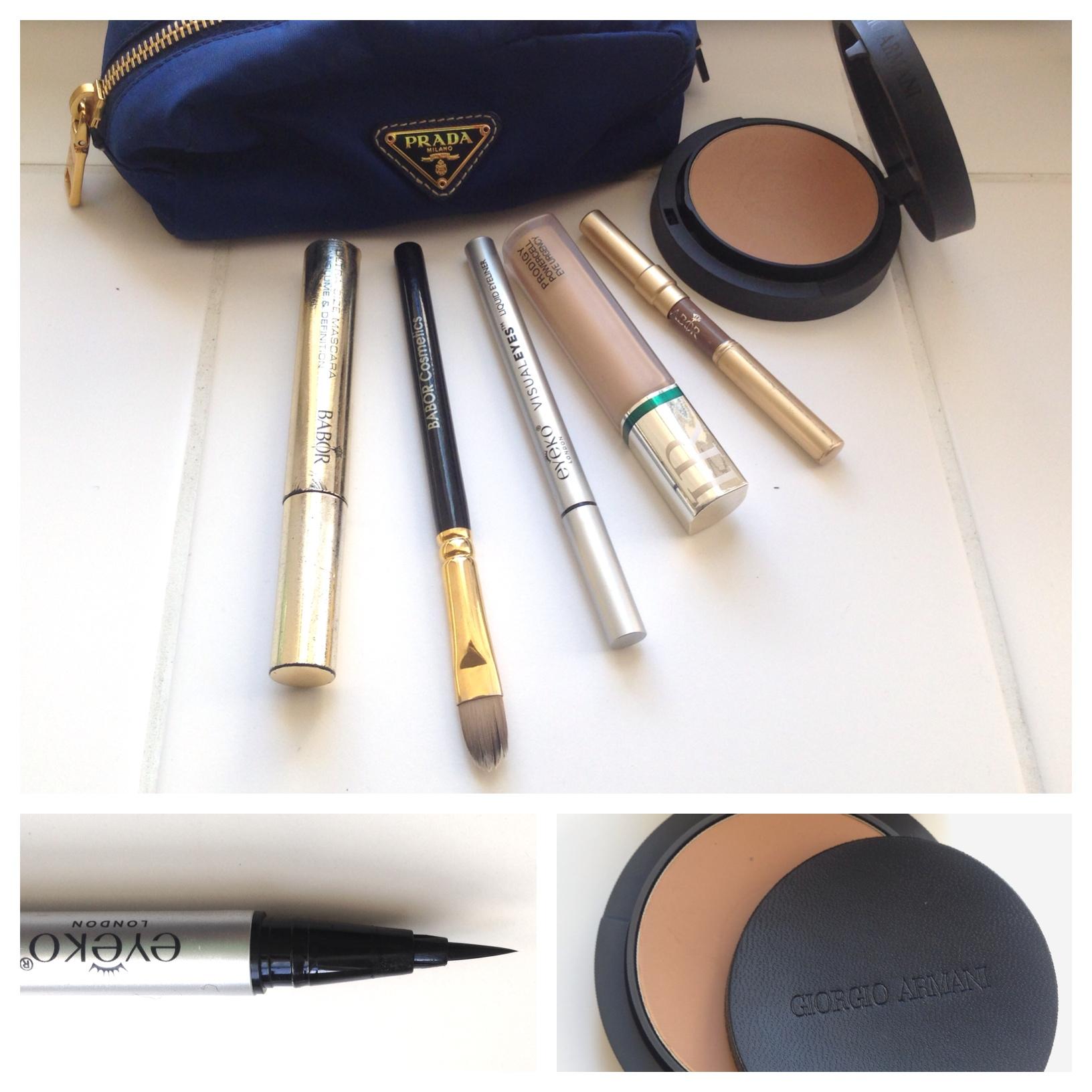 Prada Kosmetikbeutel Brauenstift Babor Mascara Helena Rubinstein Concealer Eyeliner Eyeko Compact Powder Armani