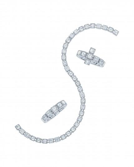 Tiffany T Diamond Train band ring, bracelet and ring in 18 karat white gold